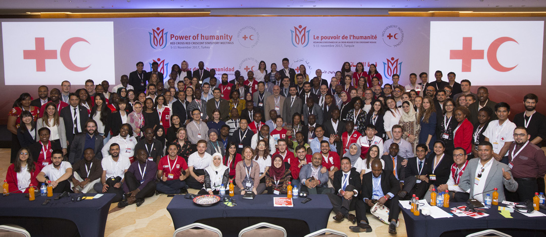 Antalya Turkey, November 4, 2017 Red Cross Red Crescent Statutory Meetings. Youth meetings. Group Photo with Youth Meeting Participants,Youth Comission President Bas Van Rossum,Turkish Red Cross President & IFRC President Tadateru Konoe.
