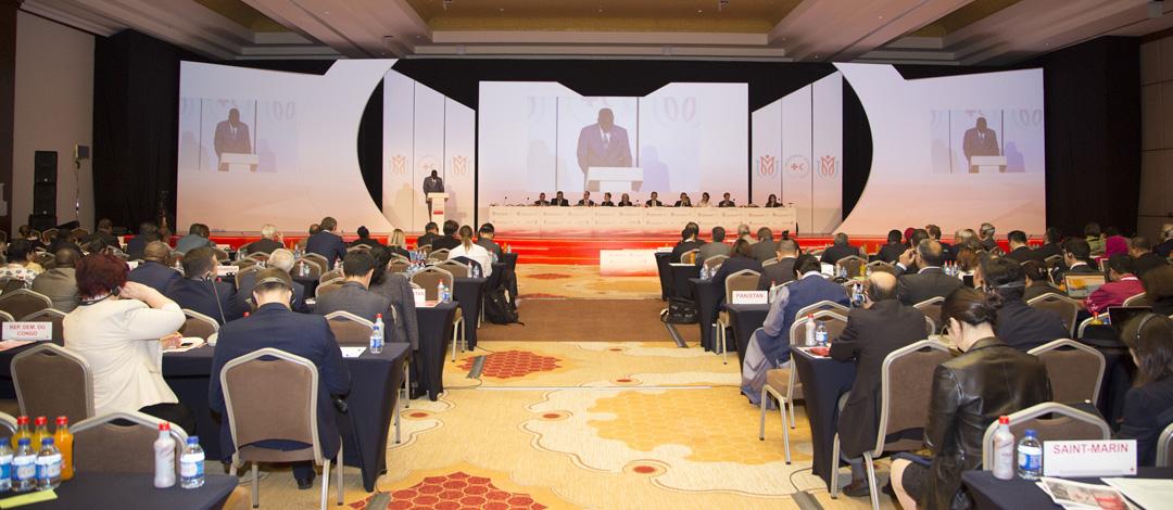 Antalya Turkey,November 7,2017 Red Cross Red Crescent Statutory Meetings,General Assembly Meeting,Elhadj As Sy,IFRC Secretary General speaking in general assembly meeting.