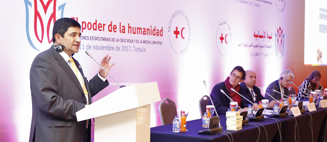 Antalya Turkey,November 11,2017 Red Cross Red Crescent Statutory Meetings,Speech by Dr.Juvenal Francisco Moreno Carrillo,Colombia Red Cross at workshop 7:Adreessing Mental Health and Psychosocial Needs.